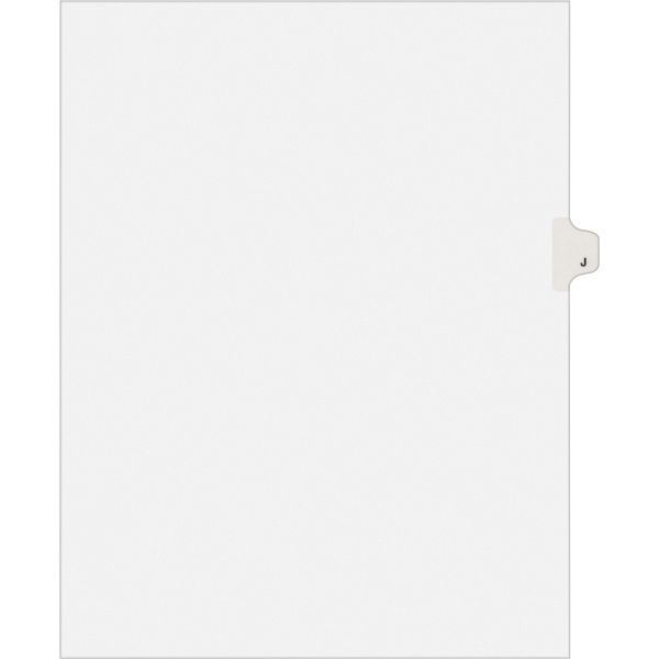 Avery-Style Legal Exhibit Side Tab Dividers, 1-Tab, Title J, Ltr, White, 25/PK