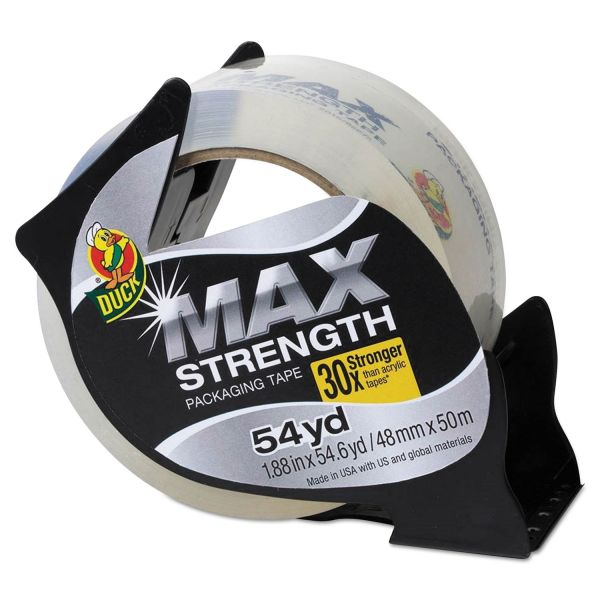 """Duck MAX Packaging Tape with Economy Dispenser, 1.88"""" x 54.6 yds, 3"""" Core, Clear"""