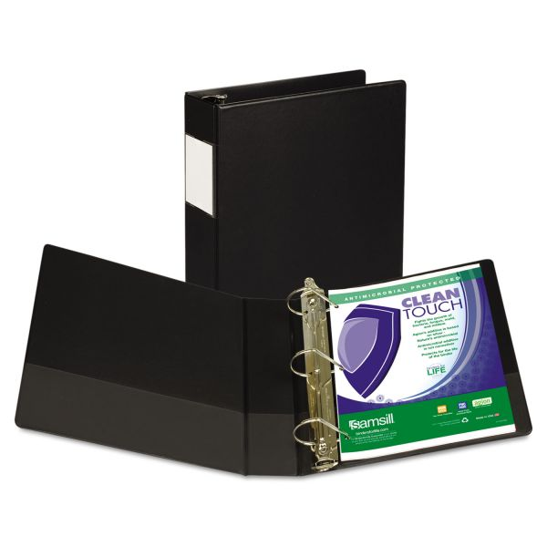 "Samsill Clean Touch Locking 3-Ring Reference Binder, Antimicrobial, 2"" Capacity, D-Ring, Black"