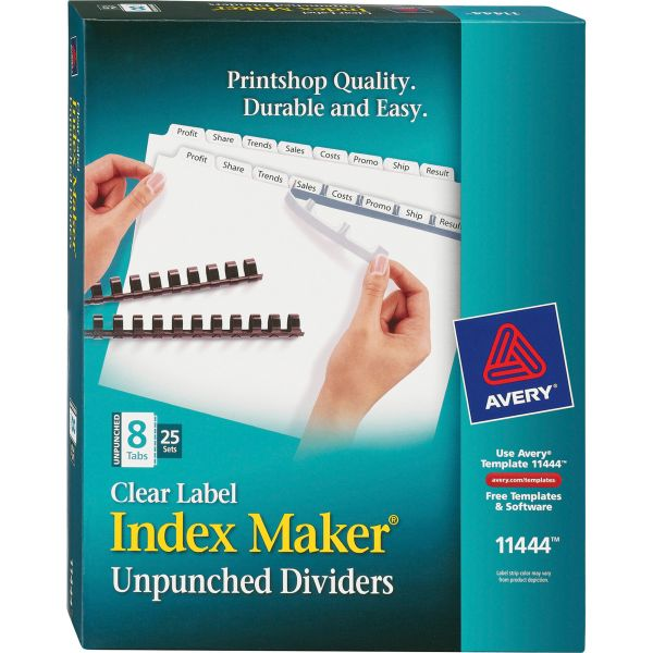 Avery Print & Apply Clear Label Unpunched Dividers, 8-Tab, White Tab, Letter, 25 Sets