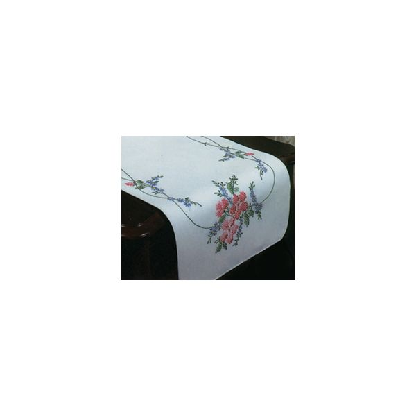 "Stamped White Dresser Scarf For Embroidery 14""X39"""