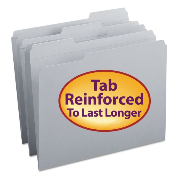 Smead File Folders, 1/3 Cut, Reinforced Top Tab, Letter, Gray, 100/Box