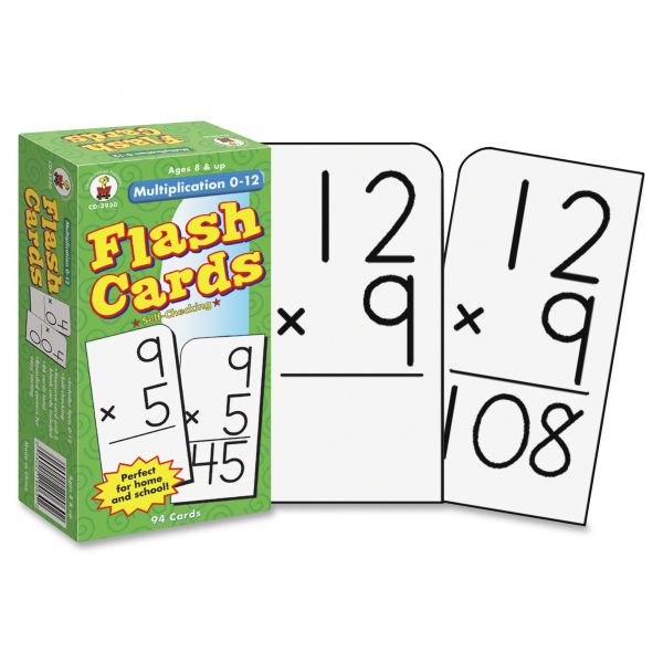 Carson-Dellosa Publishing Multiplication Facts 0-12 Flash Cards w/Round Corners, 6x3, 94 Two-Side Cards/pk