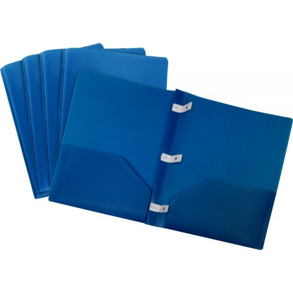 Storex Thicker Poly Blue Two Pocket Folders with Plastic Prongs