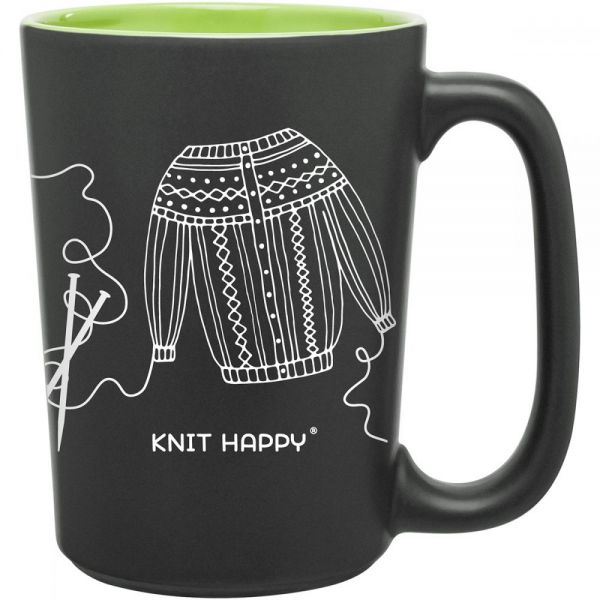 Knit Happy Scribbles Mug 10oz