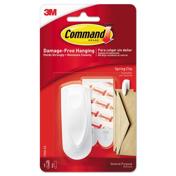 Command Spring Hook, 1 1/8w x 3/4d x 3h, White, 1 Hook/Pack