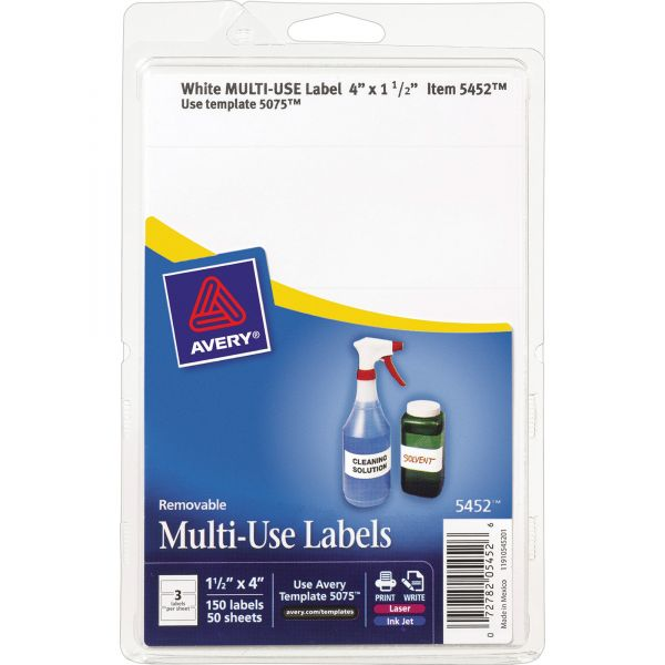 Avery Removable Multi-Use Labels, 1 1/2 x 4, White, 150/Pack