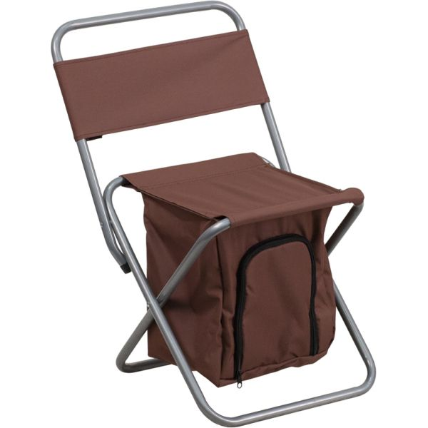 Flash Furniture Folding Camping Chair with Insulated Storage in Brown