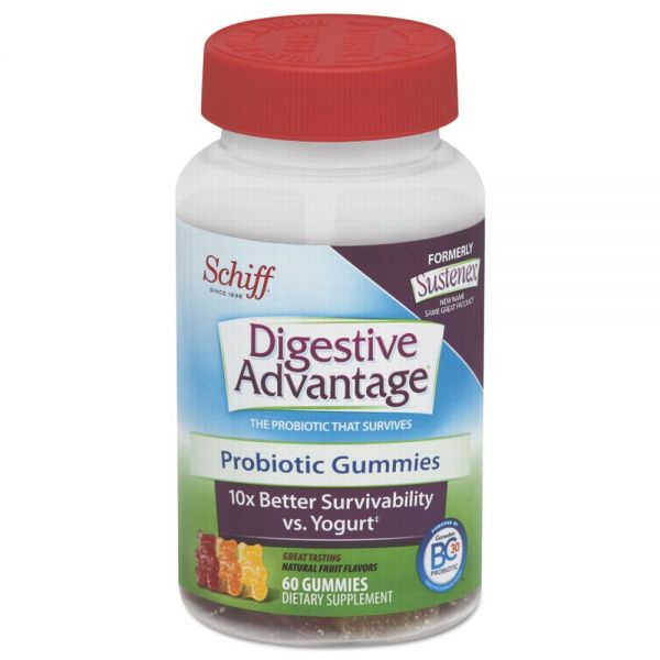 Digestive Advantage Probiotic Gummies, Natural Fruit Flavors, 60 Count, 12/Carton