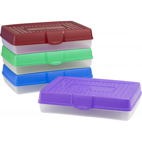 Storex Large Pencil Case, Assorted Colors (Case of 12)