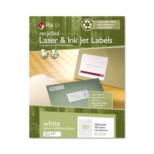 Maco Recycled Laser and InkJet Labels, 1/2 x 1-3/4, White, 8000/Box