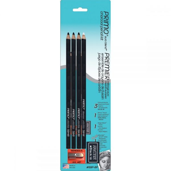 Primo Euro Blend Charcoal Pencil Kit 6pcs