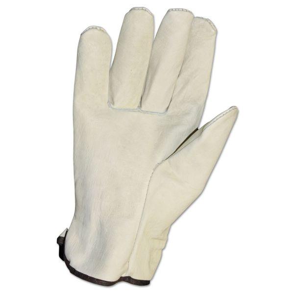 Impact Unlined Grain-Leather Drivers' Gloves, Large, Cream, Dozen