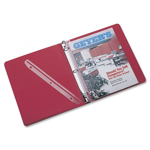 Rubbermaid 3-Hole Punched Plastic Edge Strip Magazine Holders for Ring Binders, 12 per Pack
