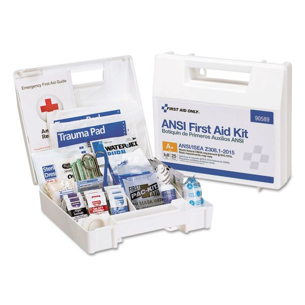 First Aid Only ANSI 2015 Compliant Class A+ Type I & II First Aid Kit for 25 People, 141 Pieces