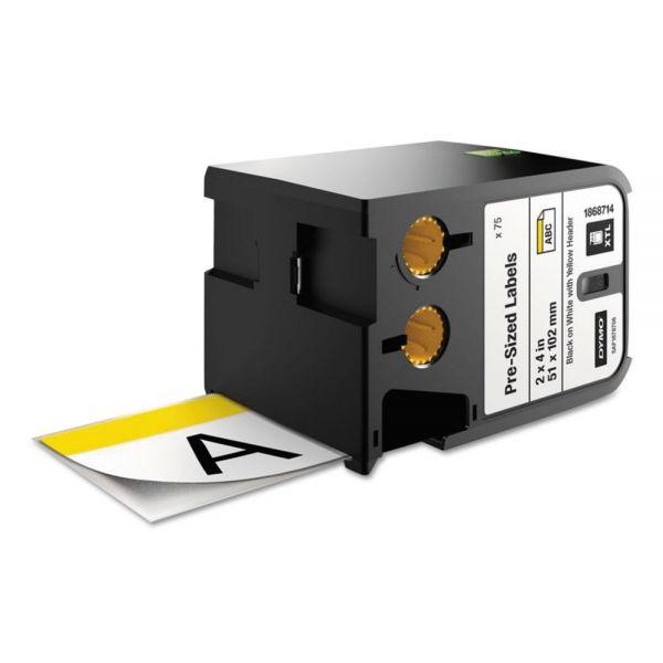 """DYMO XTL Pre-Sized Labels, 2"""" x 4"""", White/Yellow Header/Black Print, 70/Cartridge"""