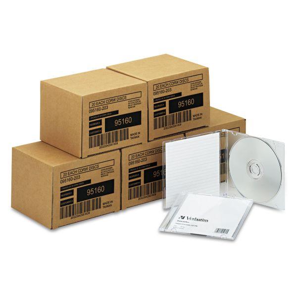 Verbatim CD-RW Discs, 700MB/80min, 4x, w/Slim Jewel Cases, Silver, 100/Carton