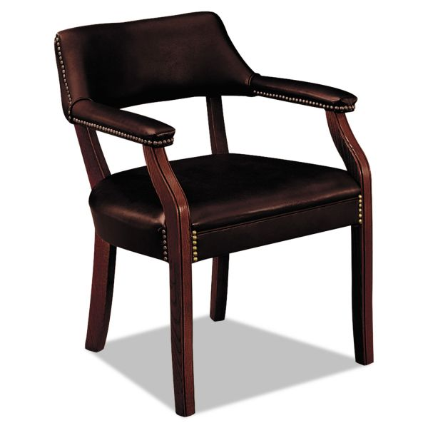 HON 6550 Series Guest Arm Chair, Mahogany/Oxblood Vinyl Upholstery