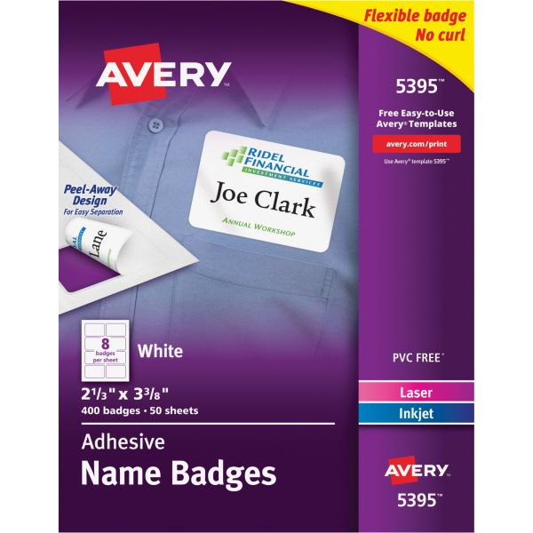 Avery Flexible Self-Adhesive Laser/Inkjet Name Badge Labels, 2 1/3 x 3 3/8, WE, 400/BX