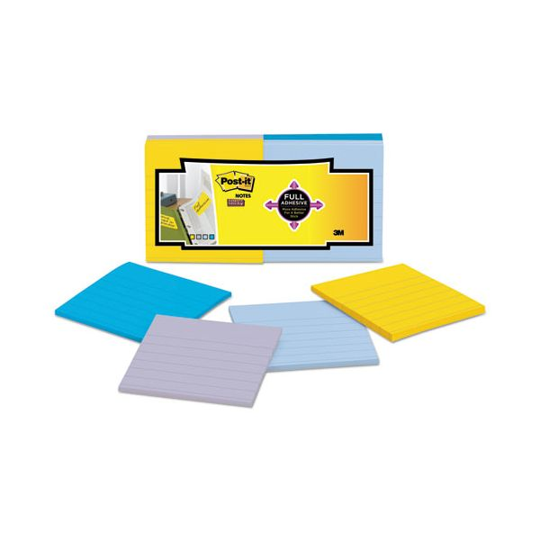 Post-it Notes Super Sticky Full Adhesive Notes, 3 x 3, Ruled, Assorted New York Colors, 25-Sheet, 12/Pack