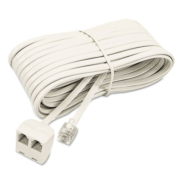Softalk Modular Telephone Extension Cord, Plug/Dual Jack, 25ft, Almond