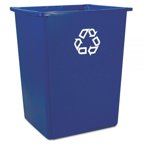 Rubbermaid Commercial Glutton Recycling Container, Rectangular, 56 gal, Blue