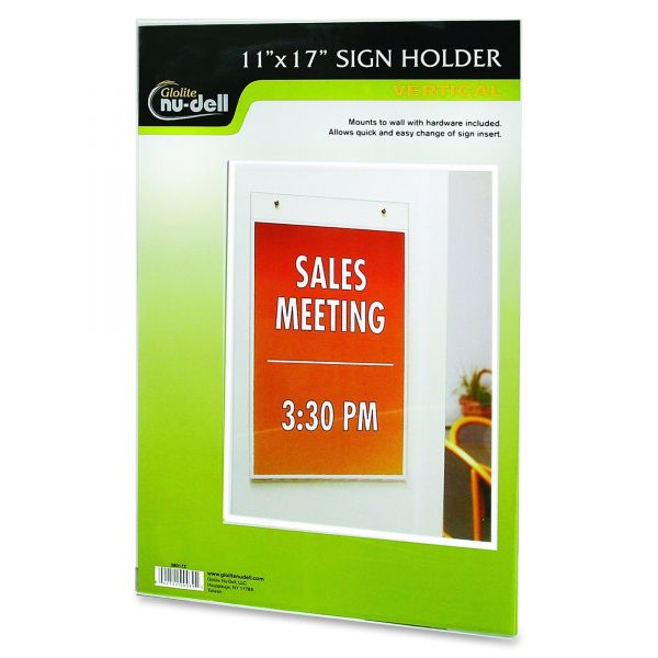 NuDell Clear Plastic Wall Mountable Sign Holder