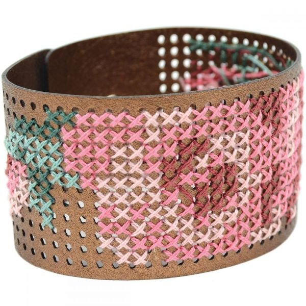 Faux Leather Bracelet Punched For Cross Stitch