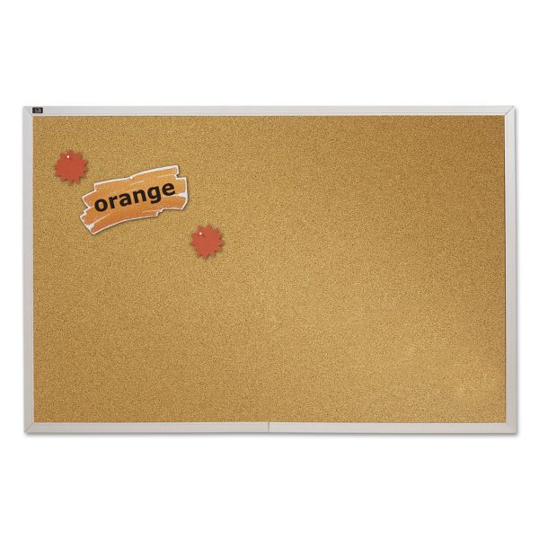 Quartet Natural Cork Bulletin Board, 96 x 48, Anodized Aluminum Frame