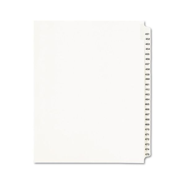 Avery Avery-Style Legal Exhibit Side Tab Divider, Title: 451-475, Letter, White