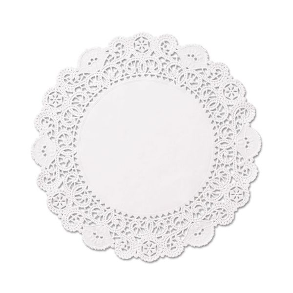 """Hoffmaster Brooklace Lace Doilies, Round, 6"""", White, 2000/Carton"""