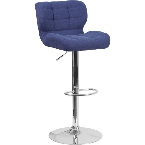 Flash Furniture Contemporary Tufted Adjustable Height Barstool with Chrome Base