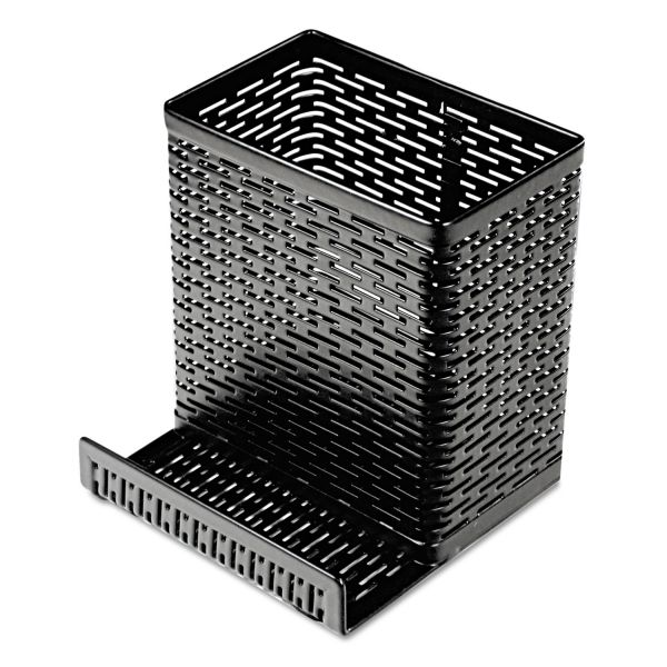 Artistic Urban Collection Punched Metal Pencil Cup/Cell Phone Stand, 3 1/2 x 3 1/2, Black