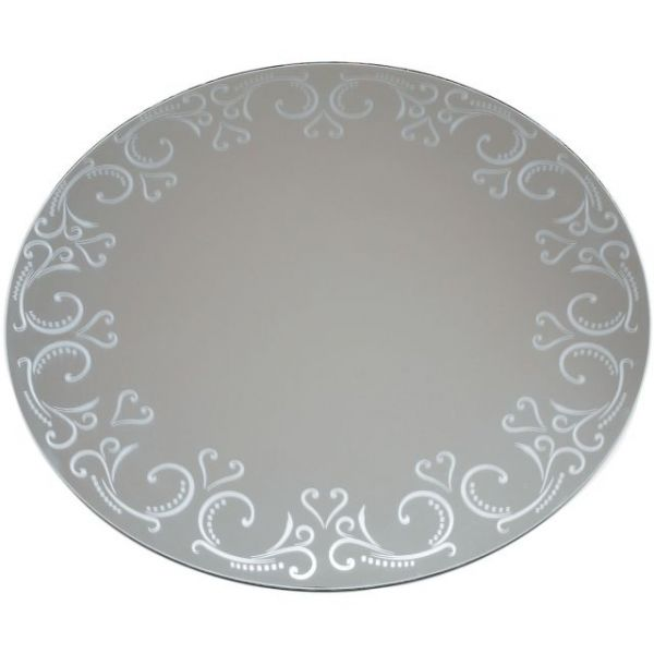Round Glass Mirror W/Pattern Edge Bulk