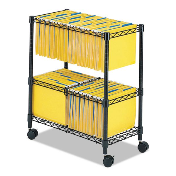 Safco Two-Tier Rolling File Cart, 25-3/4w x 14d x 29-3/4h, Black