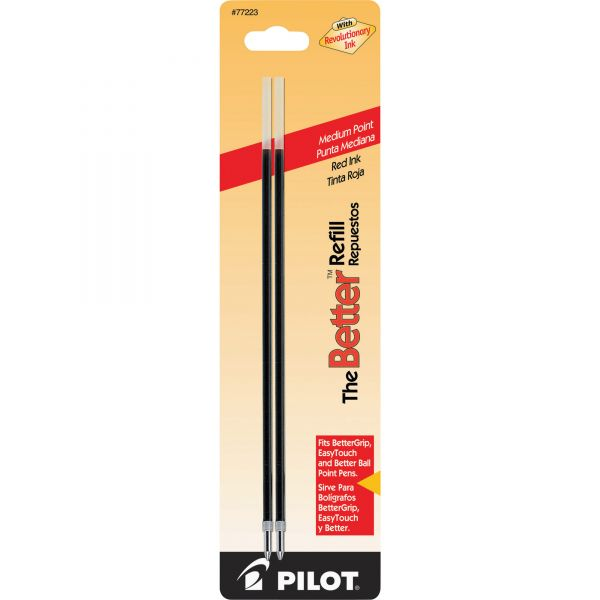 Pilot Refill, Non-retract Better/BetterGrip/EasyTouch Ballpoint, Med, Red, 2/Pack