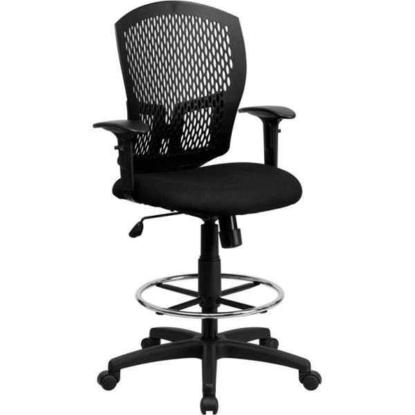 Flash Furniture Mid-Back Designer Back Drafting Chair with Height Adjustable Arms