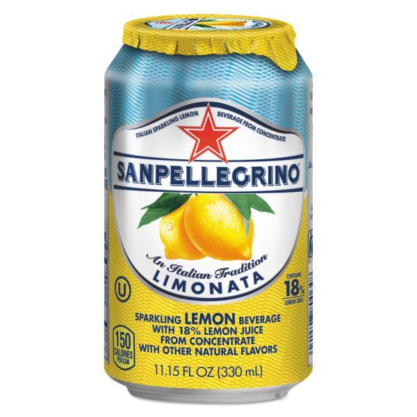 San Pellegrino Sparkling Fruit Beverages, Limonata (Lemon), 11.15 oz Can, 12/Carton