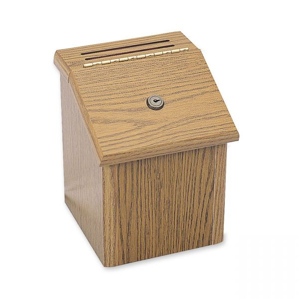 Safco Wood Suggestion Box, Latch Lid Key Lock, 7 3/4 x 7 1/2 x 9 3/4, Oak