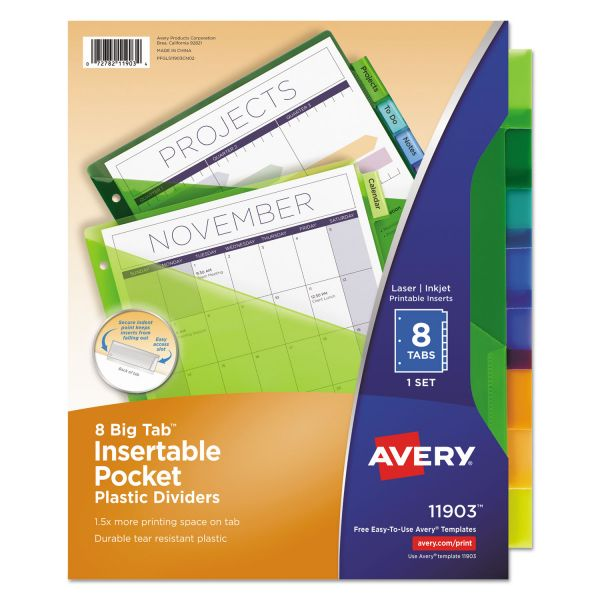 Avery Insertable Big Tab Plastic Dividers w/Single Pockets, 8-Tab, Multi-color Tab, Letter, 1 Set