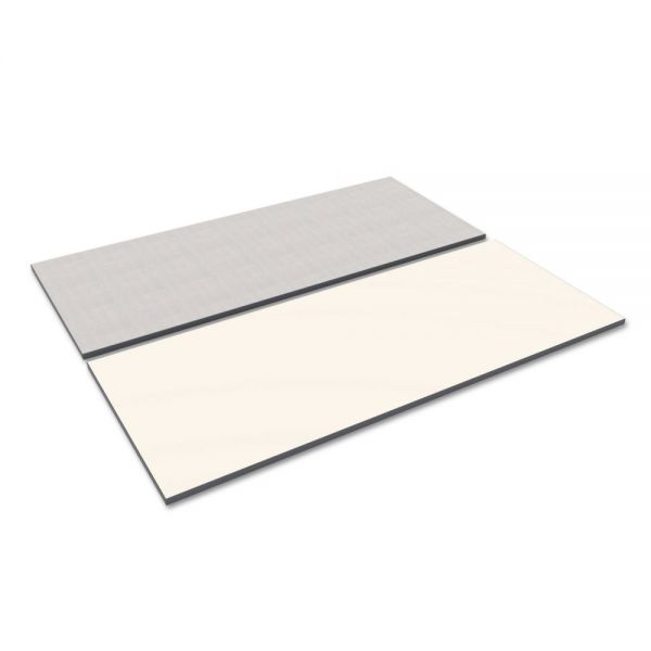 Alera Reversible Laminate Table Top, Rectangular, 71 1/2w x 29 1/2d, White/Gray