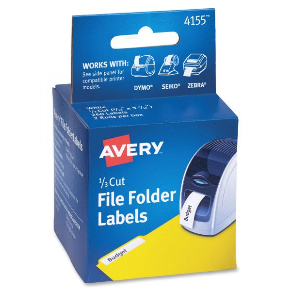 Avery Thermal Printer File Folder Labels, 1/3 Cut, White, 130/Roll, 2 Rolls