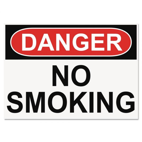 Headline Sign OSHA Safety Signs, DANGER NO SMOKING, White/Red/Black, 10 x 14