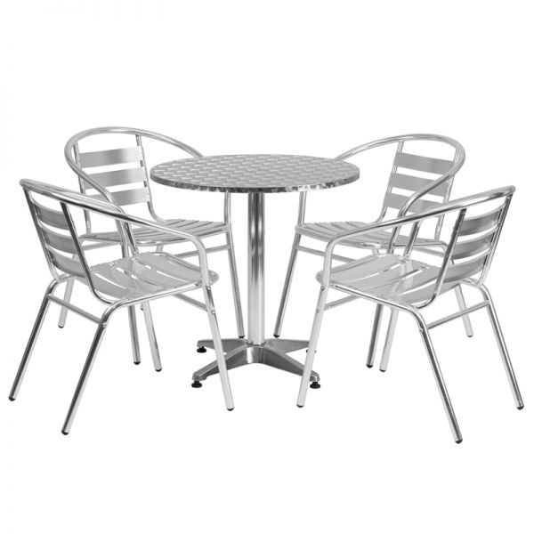 Flash Furniture 27.5'' Round Aluminum Indoor-Outdoor Table with 4 Slat Back Chairs