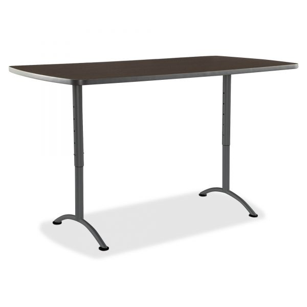 Iceberg ARC Sit-to-Stand Tables, Rectangular Top, 36w x 72d x 30-42h, Walnut/Gray
