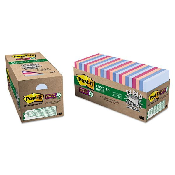 "Post-it 3"" x 3"" Super Sticky Recycled Notes"
