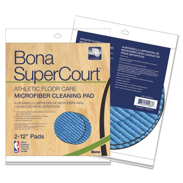 Bona SuperCourt Athletic Floorcare Microfiber Cleaning Pad, 12 Dia, Lt/Dk Blue,2/Pk