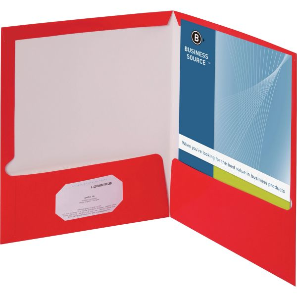 Business Source Laminated Red Two Pocket Folders