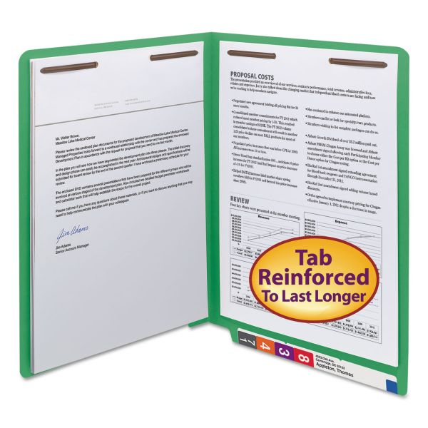 """Smead WaterShed/CutLess End Tab 2 Fastener Folders, 3/4"""" Exp., Letter, Green, 50/Box"""