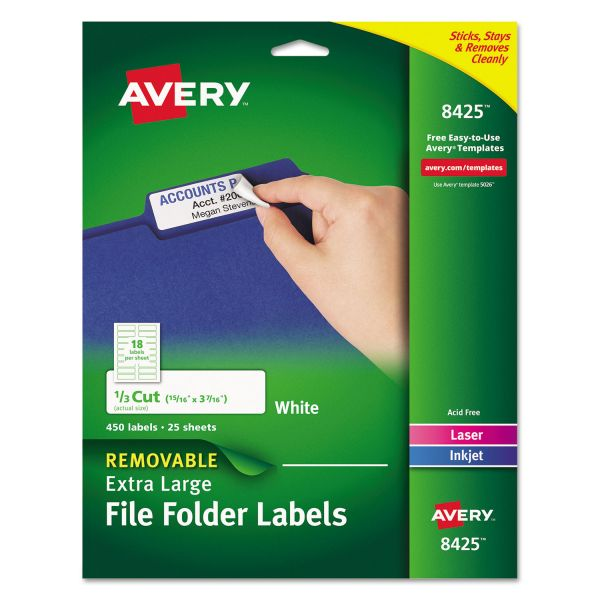 Avery XL Removable 1/3-Cut File Folder Labels, Inkjet/Laser, .94 x 3.44, White, 450/PK